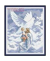 ラブリーエンジェル刺繍フロスクロスステッチキット刺繍刺繍は、クロスステッチプリントキャンバスは針仕事-に布、イエスと天使の絵画11CTプリPを設定します。