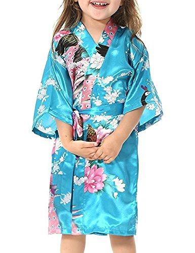 Minetom Peignoir Enfant Motif Exotique Paon Fleur Kimono Soie Cardigan Robe de Chambre Fille Satin Bleu Clair 100