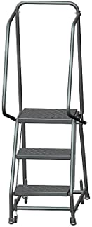 Ballymore H318P Steel Standard Rolling Ladder with Spring Loaded Casters and Handrails, Perforated Step Tread, Unassembled, OSHA/ANSI Standard, 3 Steps, 16