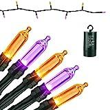 Geemoo Guirnalda Luces Naranja + Púrpura Decoración Halloween, 10M 100 LED Cadena de Luces Pilas 8 Modos Impermeable para Decoración Halloween Interior y Exterior