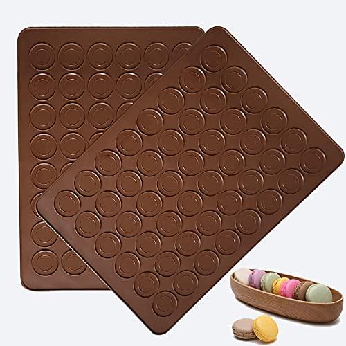 HYCSC 48 Capacity Silicone Baking Mats, Non-Stick Macaron Baking Mats, BPA free Macaron Baking Sheet, Macaron - Pack of 2
