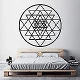 Sri Yantra bricolage vinyle autocollant mural Art Decal méditation spirituelle cube alchimie forme géométrique chambre salon décor à la maison géométrie sacrée noir