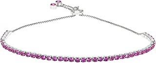 Lab Created Pink Sapphire Silver Adjustable Tennis Bracelet 3.17ctw