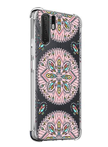 Suhctup Coque Comaptible avec Huawei Mate 20X Étui Houssee,Transparent Motif Fleur [Antichoc Protection des Coins] Crystal Souple Silicone TPU Bumper Case Cover pour Huawei Mate 20X,A1