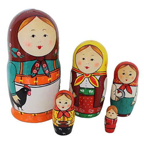 Semenowskaja Rospis russische Matroschka Puppen Original Babuschka für Kinder Set 5 Figuren (mit Hahn)