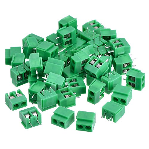 KANGWEI 50 Pieces 2 Pin 5 mm Pinch PCB Mount Screw Terminal Block Connector 300V 10A (Green)