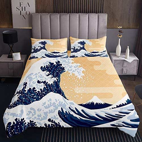 Ocean Wave - Colcha para niñas y niños, diseño japonés Hokusai, juego de colcha decorativa de estilo japonés con olas de mar acolchadas, colección de ropa de cama de tamaño doble