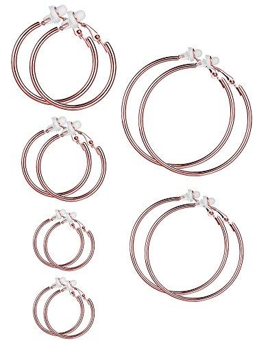 Set di orecchini a clip per donne e ragazze, diverse misure, non serve avere i lobi forati e N   A, colore: Oro rosa, cod. Sumind-Hoop Clip On Earrings-01