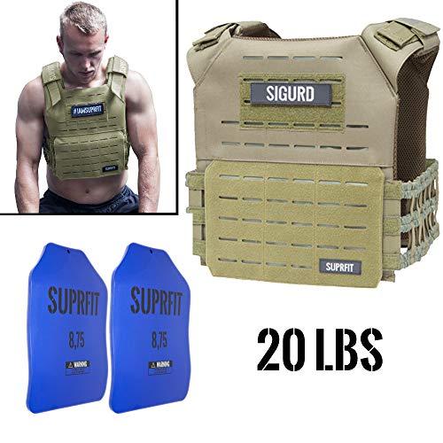 Suprfit Sigurd 3D Gewichtsweste Green - Basisgewicht: 1 kg, Zusatzgewicht: 2 x 4 kg (blau), Maximalgewicht: 17 kg, Farbe: Olivgrün, Laufweste für Cross Training und Krafttraining, Unisex