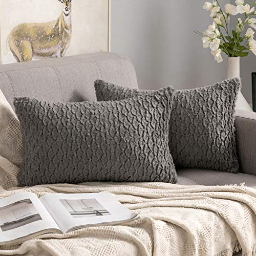 MIULEE Set of 2 Decorative Throw Pillow Covers Square Cushion Covers Faux Fur Pillow Cases for Couch Sofa Bed Living Room 12x20 Inch, Grayish Brown