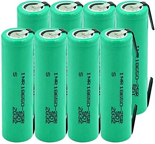 Inr18650-25R 3.7V 20A Baterías De Descarga Cargadas PTC Protegidas con 2 Baterías De Iones De Litio De Lengüeta 8 Piezas