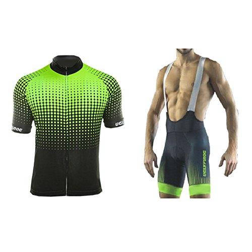 UGLY FROG Fahrradbekleidung Set, Herren Damen Atmungsaktiv Schnell Kurzarm Radfahren Jersey Set Kurzarmtrikot mit 3D Sitzpolster