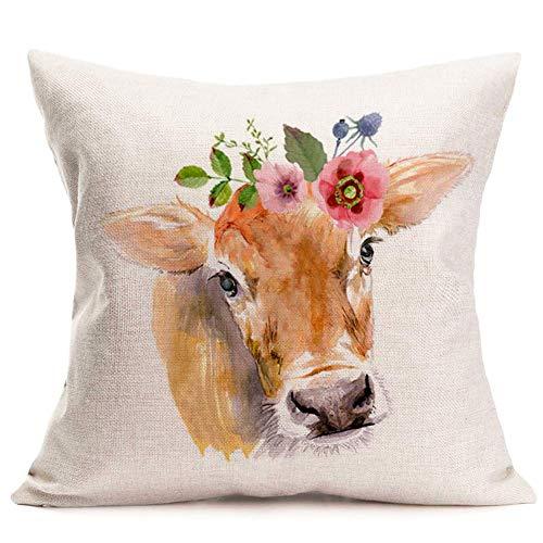 Pillow Cover Watercolor Animals Water?Buffalo Cow Wearing Flowers Garland Throw Pillow Cushion Cover Cotton Linen Home Sofa Decorative Pillowcase 18x18Inch (WA-Buffalo) 18' X 18'(in)
