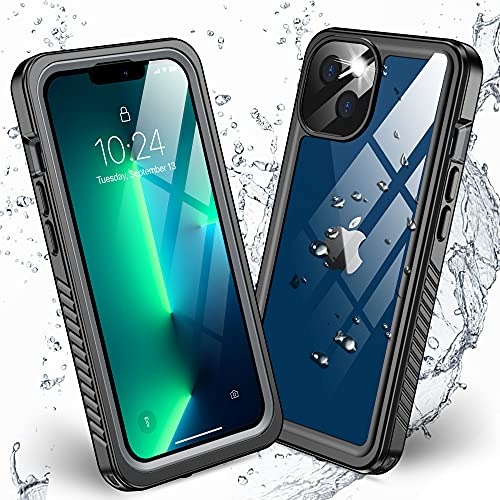 Nineasy Compatible with iPhone 13 Case Waterproof, 360° Full Body Protection Built-in Screen Protector Heavy Duty Cover IP68 Underwater...