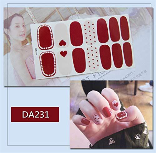 HDDWZH Nagelaufkleber,14 Tipps/Blatt Volle Deckung Wraps Nagellack Sticker Plain Herzförmigen Dot Perlen Designs Big Red Nailart Maniküre Tipps