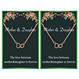 Mother and Daughter Necklace Set Two Interlocking Infinity Double Heart Necklace for Mothers Gift From Daughter Birthday Gift (2pcs Rose GoldHeart Necklace)