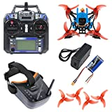 QWinOut T100 DIY FPV Racing Drone Toothpick Kit with Flysky Receiver Crazybee F4 PRO V3.0 FC Full Set with FPV Goggles (RTF Version,Blue)