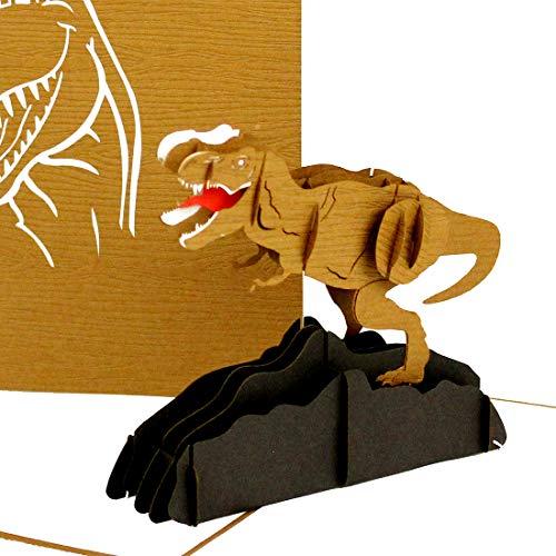 Pop Up Kaartdinosaurus - T-Rex, Dino 3D verjaardagskaart, vouwkaart Tyrannosaurus Rex, handgemaakte wenskaart, wenskaart met dinosaurus model voor verjaardag & kinderverjaardag