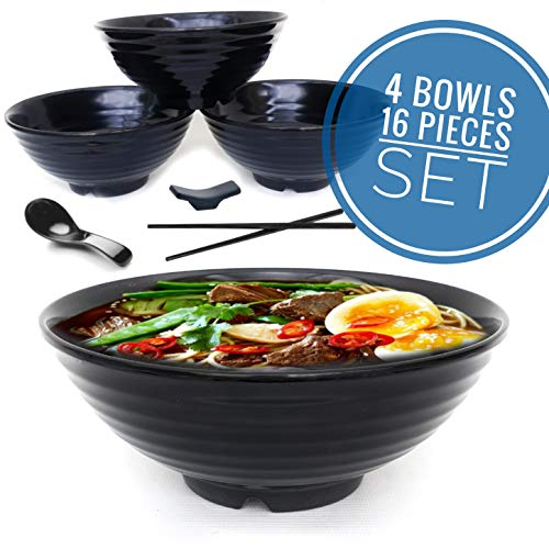 4 set (16 piece) Ramen Bowl Set, Asian Japanese soup with Spoons Chopsticks and Stands, Restaurant Quality Melamine, Large 32 oz for Noodles, Pho, Noodle, Udon, Thai, Chinese dinnerware … (4, Black)