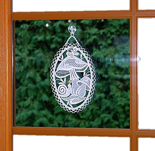 Fensterbild 15x25 cm + Saugnapf Plauener Spitze Stickerei Pilz Schnecke Spitzenbild Herbst Weiß