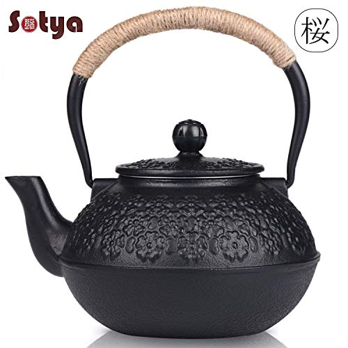 Cast Iron Teapot, Sotya Tetsubin Japanese Tea Kettle (1200ml, Black)