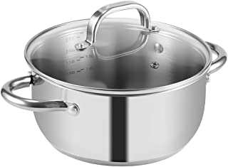 iSiLER 2.6 Quarts Stainless Steel Stock Pot with Lid, Multi-purpose Cooking Pot Suitable for Induction Cooker or Gas Cooker