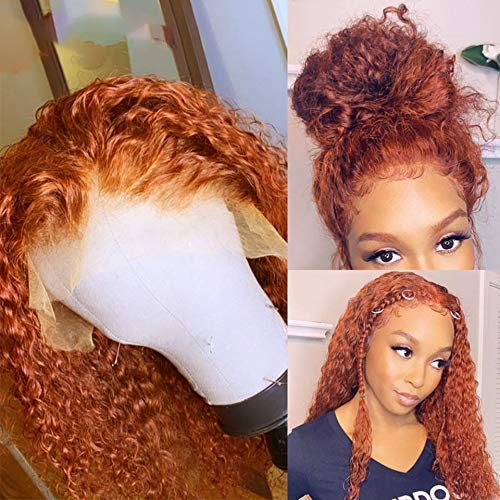 Orange Ginger Lace Front Wig Pre Plucked Brazilian Wavy Transparent Deep Part Curly Human Hair Wigs Glueless Virgin Lace Frontal Wigs (20Inch, Curly)