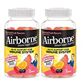 Airborne Vitamin C 750mg (per serving) - Assorted Fruit Gummies (2x63 count in a bottle), Gluten-Free Immune Support Supplement With Vitamins C E, Selenium