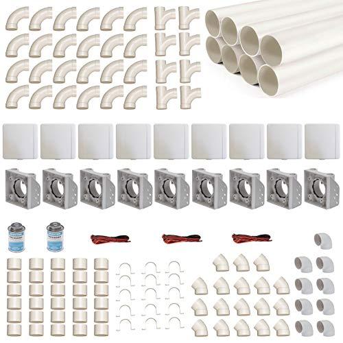 Zentralstaubsauger Einbau-Set für 9 Saugdosen mit Rohren, Fittings & Co. - Montageset für DIY-Einbau einer Staubsaugeranlage - Saugdose VacuValve ES quadratisch