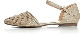 Womens Pointed Toe Ballet Flats Glitter Rhinestone Buckle Ankle Strap Low Heel Flat Sandals