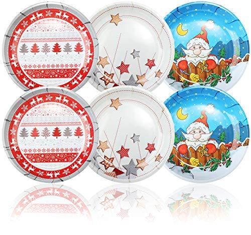 com-four® 6x Weihnachtsteller aus Melamin - Runder Teller für Weihnachten - Keksteller für Nikolaus und Weihnachten in verschiedenen Designs [Auswahl variiert] (06 Stück - Ø 19.5cm)