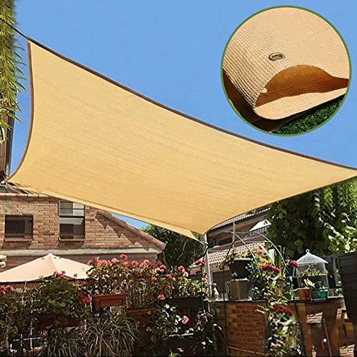 Velas de Sombra Cubierta de Sombra para Jardín de Patio, Pérgola de Toldos de Bloque UV 90% Beige con Ojales, Tela de Red Exterior a Prueba de Viento para Protección de Piscina al Aire Libre