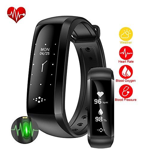 Waterdichte fitnesstracker, activiteitstracker, slaapritmemonitor, stappenteller, calorieën, stappenteller, calorieën, stappenteller, Health Smart Band voor iPhone en Android mobiele telefoons, zwart