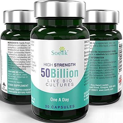 Soetik 50 Billion Live Bio Cultures – Premium High Strength Vegan Multi Strain Natural Supplement Includes Lactobacillus Acidophilus & Bifidobacterium - 30 One A Day Capsules for Adults Men Women