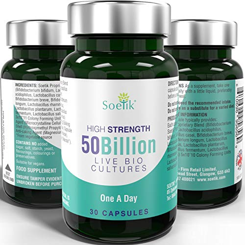 Soetik 50 Billion Live Bio Cultures – Premium High Strength Vegan Multi Strain Natural Supplement Includes Lactobacillus Acidophilus & Bifidobacterium - 30 One A Day Capsules for Adults Men Women