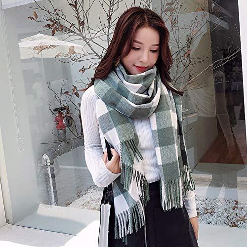 CHENGWJ sjaal dames kasjmier 200 * 70 cm herfst en winter vrouwelijke wol geruite sjaal vrouwen kasjmier sjaals brede rooster lange sjaal wrap warme hajabs