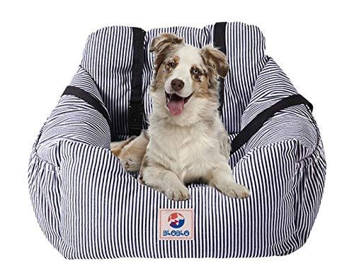 BLOBLO Sitzerhöhung für Hunde,Hunde Auto Reisebett mit Seitentasche und Hundeleine,Abnehmbarer Waschbarer,für Hunde mit Einem Gewicht unter 16kg,Sicherer und Bequem für Reisen (Blau)