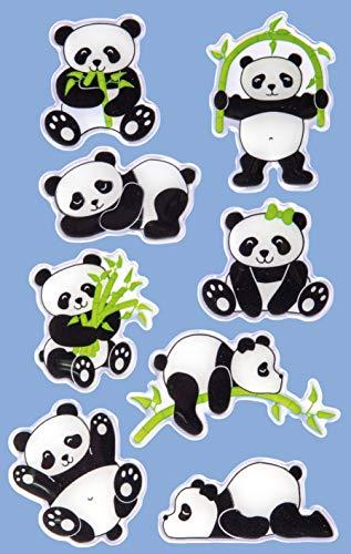 Avery Zweckform 8 Stück Glossy Sticker (Panda Aufkleber im 3D Effekt, Kindersticker zum Spielen, Basteln Sammeln) Art. 57297
