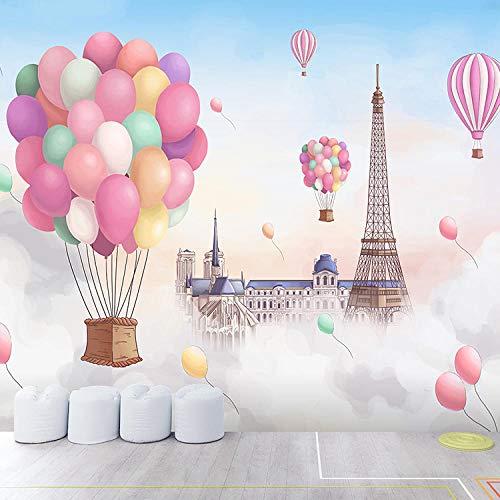 Papeles Pintados de Pared Torre globo aire caliente romántico dibujos 350x256cm Papel pintado no tejido decoración de Pared decorativos Murales moderna Diseno Fotográfico