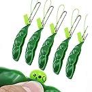 Squishy Bean,5 PCS Llavero Squeeze Soybean Divertido Squeeze a Bean Squishy Pea Pod Fidget para Reducir Ansiedad y Estrés Anti Stress Exprimible Soja Edamame Extrusion