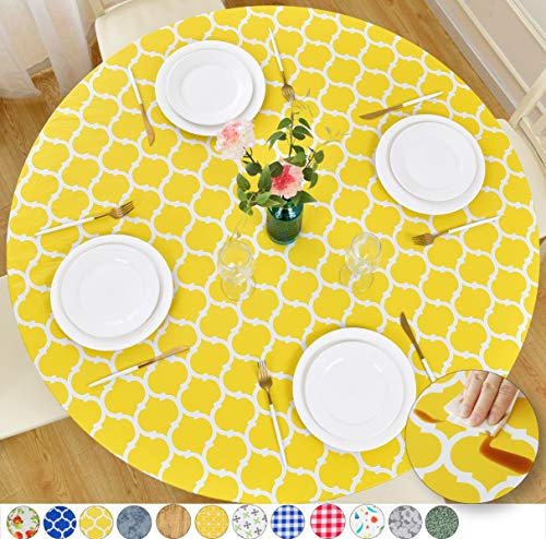 Rally Home Goods Indoor Outdoor Patio Round Fitted Vinyl Tablecloth, Flannel Backing, Elastic Edge, Waterproof Wipeable Plastic Cover, Yellow Moroccan Trellis Pattern for 6-Seat Table 43-56'' Diameter