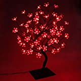 PMS 23inch 90 LEDs Cherry Blossom Tree Lights Desk Top Bonsai Tree Lamp with Low Voltage Transformer, Ideal for Christmas Wedding Party Bedroom Home Decoration (Red)
