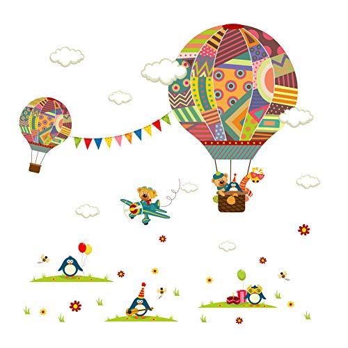 Joeyer Pegatinas Decorativas, Animales Globo Aerostático Decorativas Adhesiva Pared Dormitorio Salón Guardería Infantiles Niños Bebés