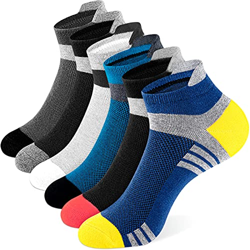 Newdora Sneaker Socken Herren Damen, 6 Paar Kurzsocken Laufsocken Sportsocken Atmungsaktiv Wandersocken Unisex,43-46