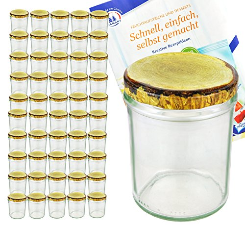 MamboCat 50er Set Sturzglas, 435 ml mit to 82, Deckel mit Holz-Dekor, Einmachglas, Einweckglas inkl. Diamant-Zucker Gelierzauber Rezeptheft