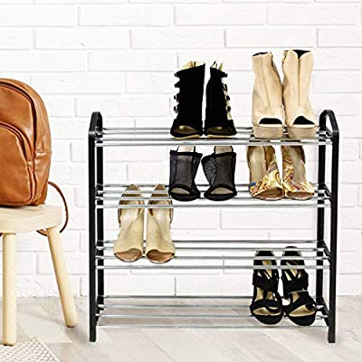 Jerry & Maggie - 4 Tier Steel Shelf Shoe Rack Pipe Shelf Simple Fashion Plastic Frame Support Pipe Shelf Shoe Storage Shelves Free Standing Flat Racks Classic Style - Lightweight Easy-Assembly Sturdy