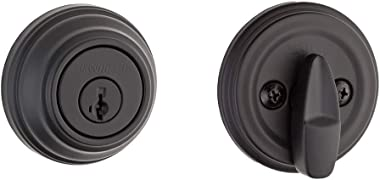 Kwikset 99800-0097 980 Single Cylinder Traditional Round Deadbolt Door Lock Set featuring SmartKey Security in Iron Black