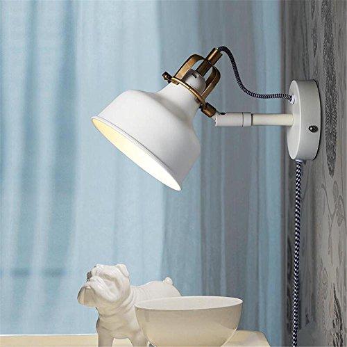 Atmko®Applique Murale Mur moderne mur lampe mur bougeoir chambre escalier couloir éclairage Swing Arm fer forgé mur Lampe E27 blanc