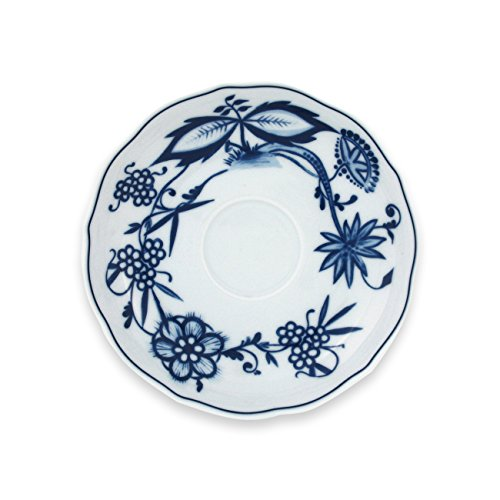 Triptis 1350380674734116 Romantika Zwiebelmuster Kaffee-Untertasse, Ø 14 cm, Porzellan, weiß/blau (4 Stück)