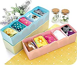 AMPLE EMPORIUM Plastic Socks Rack - Undergarments Innerwear Cosmetic Makeup Drawer Organiser Partition Grids Storage Box - Multicolour - Set of 2.